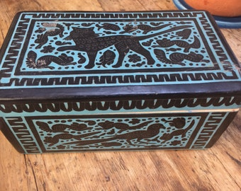 Vintage Mexican Hand Carved Black and Blue Box