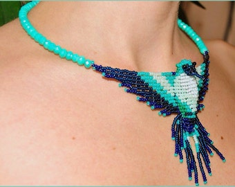 necklace with bird handmade beaded