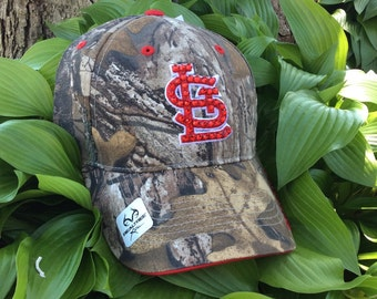 St. Louis Cardinal Camo Hat Embellished with Red Swarovski Crystals