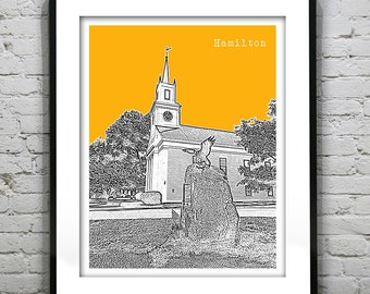 Hamilton Massachusetts Skyline Poster Art Print MA Version 1