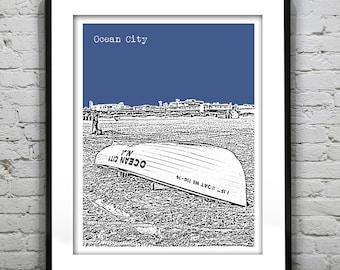 Ocean City New Jersey Skyline Poster Print Art NJ Music Pier Version 3