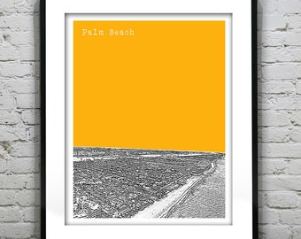 Palm Beach Skyline Poster Art Print Florida FL