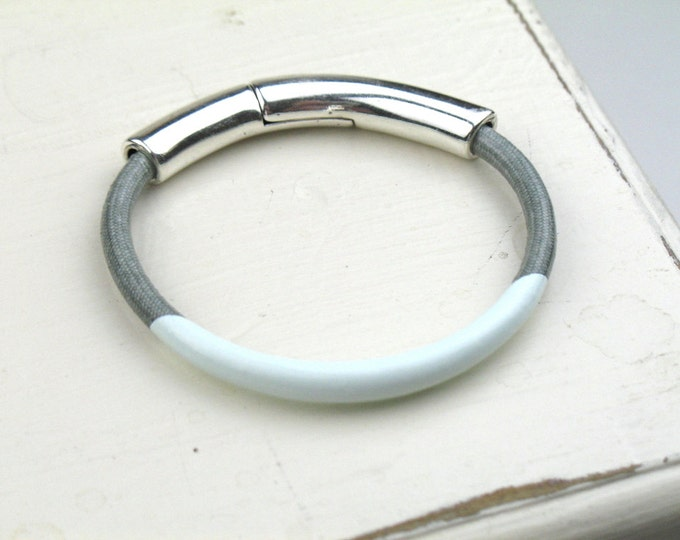 Enamel Bracelet with Grey Mokuba Cord and Silver Magnetic Clasp / Artisan Jewelry / Textile Arm Candy / Gift For Her / Fiber Jewelry