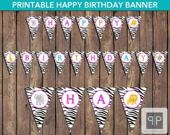 INSTANT DOWNLOAD Jungle Birthday Bunting Banner, Safari Birthday Banner, Zoo Birthday Banner, Zebra Print Birthday Banner, Printable Jungle
