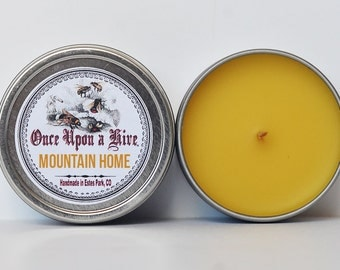 Mountain Home Beeswax Candle Tin | Exclusive Blend | 4 oz. Candle | Natural | Travel Tin | Container Candle | Scented