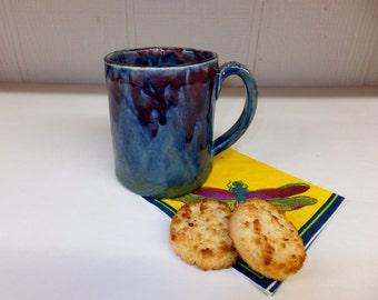 Deep Ocean Blue Coffee Mug with Squid Red Ink Top