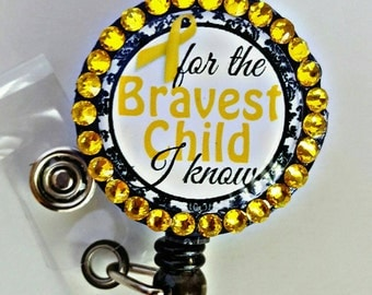 Childhood Cancer Awareness Retractable Name Badge Holder Reel with Swarovski Crystals