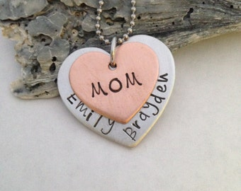 Personalized mother's necklace-custom stamped jewelry- grandma- aunt- hand stamped necklace, custom mom jewelry - child's name necklace