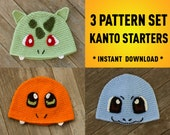 First Generation Starter Pokemon Inspired Crochet Pattern Pack Charmander Bulbasuar Squirtle Pokemon Crochet Pokemon Hat Pokemon Starter