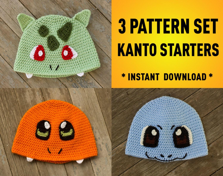 Free Crochet Pattern Pokemon Hat : First Generation Starter Pokemon Inspired Crochet Pattern Pack