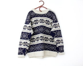 Vintage sweater // chunky knit holiday oversized wool sweater // size L