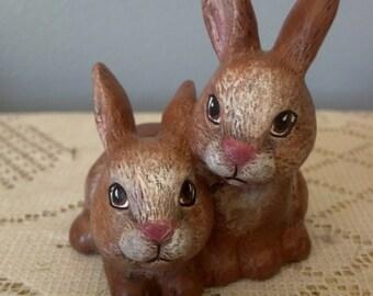 Ceramic Extra Small Double Garden Bunnies