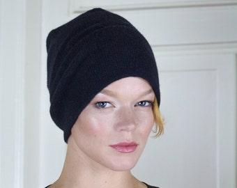 Merino and Angora Wool Knitted Beanie Hat