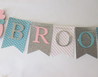 Pink, teal and silver glitter  its a girl banner, baby shower decorations, Welcome baby banner