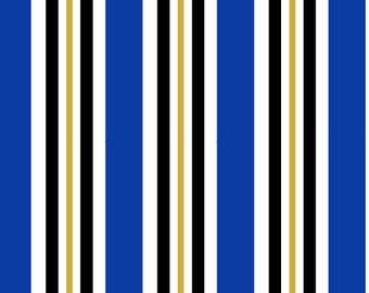Go Team! Blue and White Stripes Pet Collar (Martingale, Buckle, or Tag)