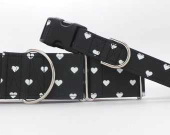 Swiss Hearts BLACK Dog Collar (Martingale, Buckle, or Tag)