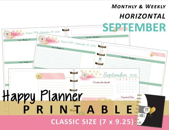 Happy Planner Calendar Refills : Happy planner september monthly weekly by