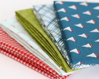 Offshore Nautical Fat Quarter Bundle, 5 pc - Deena Rutter for Riley Blake designs - sailboats, nautical fabric, blue, red, fabric bundle