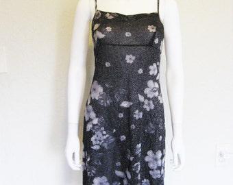 Semi Sheer Floral Shimmer 90s Dress