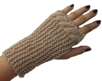 Cable Knit Fingerless Mitten, Beige, Wool, Fingerless Glove, Wool Mitt, Handknit, Wrist Warmers