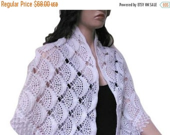 ON SALE Crochet White Mohair Metalic, Sparkle Shawl, Scarf, Triangle, Woman Accessory, For Her, Ready To Ship, Express Cargo