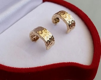 Stud Gold Earrings ,Hoop Gold Earrings ,14K Yellow Gold Earrings ,Hammered Gold Earrings ,Handmade Gold Stud Earrings ,Small Gold Earrings