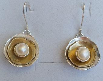 Silver And Gold Earrings ,Pearl Dangle Earrings ,Sterling Silver Earrings ,14K Gold Pearl Earrings ,Bridal Pearl Earrings,White Pearl Dangle