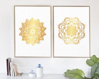 Mandala Wall Art Mandala Wall Decor Golden Mandala Print Watercolor Mandala Zen