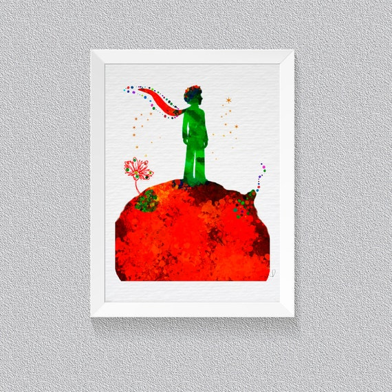 Little prince watercolor print le petit prince art for Decoration le petit prince