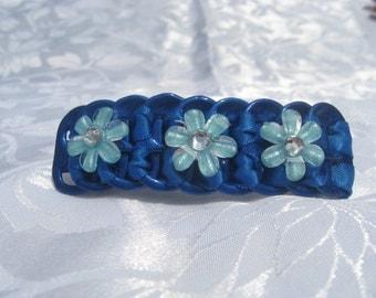 "Light Blue pop tab ,Sparkly Sky Blue flowers hair clip barrette 3"""