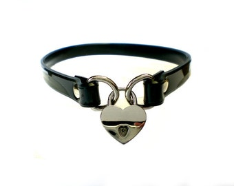 "1/2"" Vegan PVC BDSM Lockable slave sub Collar with small heart shaped padlock /locking sub choker"