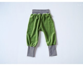 Toddler velour baggy pant green with striped cuffs