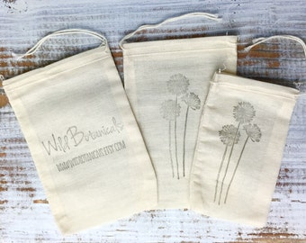 Cotton Muslin Bags, 3x5 inches, 4x6 inches, Gift Bags, Soap Bags, Party Favor Bags, Custom Stamped Bags