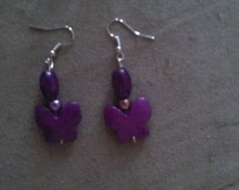 Purple Howlite Butterfly Earrings