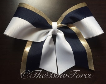 """3"""" Gold Navy White Cheer Bow #252487662"""