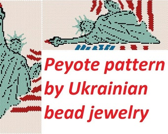 USA Statue of LIBERTY peyote bead diy american patriotic make jewelry DIY bracelet seed beads patterns unique beadwork cute pattern tutorial