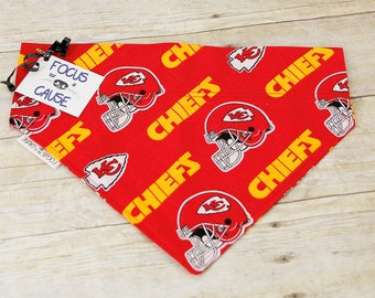 Kansas City Chiefs Dog Bandana, Slide Over the Collar Bandana, Collar Accessories, Pet Scarf by Focus for a Cause