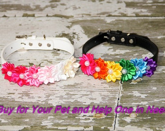 Rainbow of Tiny Satin Flowers Collar Accessory, (Collar not included)