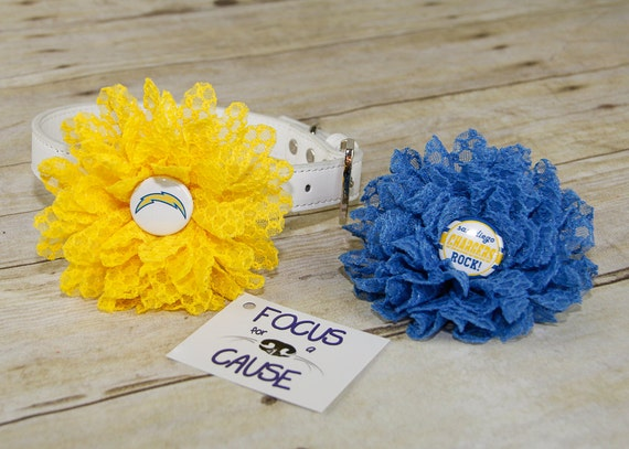 San Diego Chargers Honeycomb Lace Dog Collar Flower Blue