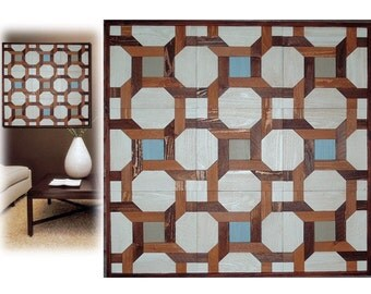Reclaimed Wood Artwork Wall Sculptures Rustic Modern Quilt Designs Contemporary Transistional Large Geometric Textured Decorative OOAK Decor