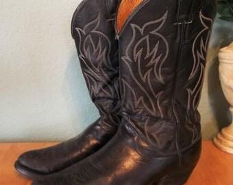 MEN'S Black JUSTIN Western BOOTS Size 9 Cowboy Broken In Condition