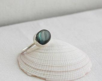 Labradorite Silver Ring, Gemstone Statement Ring