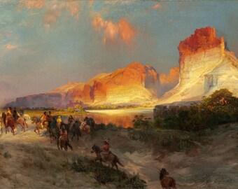 "Thomas Moran : ""Green River Cliffs, Wyoming"" (1881) - Giclee Fine Art Print"