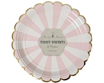 """Light Pink Striped Small Paper Plates (Set of 8) 7"""" Meri Meri Toot Sweet Dusty Rose Party Plates"""