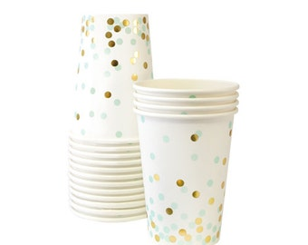 Mint + Gold Confetti Party Cups (Set of 12)
