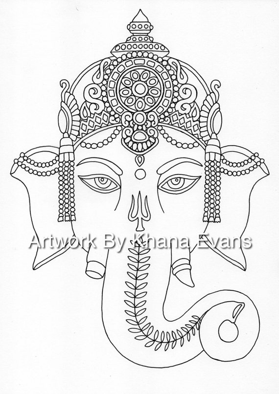 Ganesh Indian Tattoo Design PDF A4 Printout Colouring Page Sheet