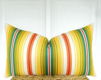 Striped Pillow Cover  - Lumbar Pillow - 12x18, 12x20, 14x22 - Yellow, Teal, Orange, Green Throw Pillow - Toss Pillow - Striped Couch Pillow