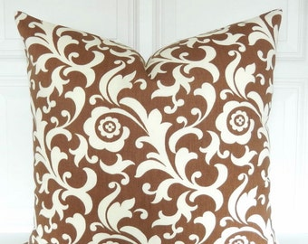 Brown Pillow Cover - Decorative Pillow - Brown and Ivory Pillow - 18x18 - Lumbar Pillow - Brown Damask Pillow - Ivory Brown Throw Pillow