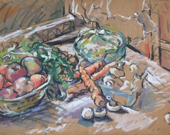 ORIGINAL VINTAGE WATERCOLOR Painting- Charcoal Still Life on Brown Paper