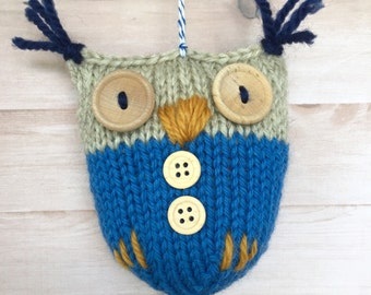 HANDKNIT OWL ORNAMENT holidays Christmas tree baby gift cute navy blue